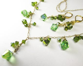 Swarovski Crystal Peridot and Olive Green Adjustable Necklace and Earring Set on 14k Gold Fill