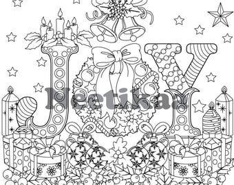 Christmas Joy - Adult Coloring Page - Christmas Coloring Page - Printable Coloring Page - Digital Download