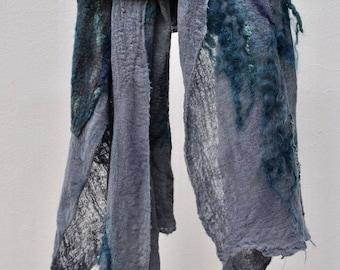 SALE. Extrafine merino woolen shawl - Italian merino wool, wensleydale. colour blue/grey/turquoise/black. OOAK