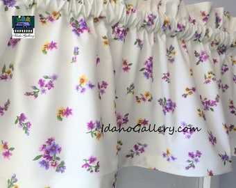 Country Curtain Tiny Flowers Shades of Purples Valance Violet Curtain Window Treatment Kitchen Curtain Bedroom Curtain Idaho Gallery
