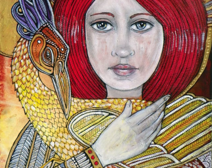 Woman and Phoenix Icon / Fantasy Art Print by Lynnette Shelley
