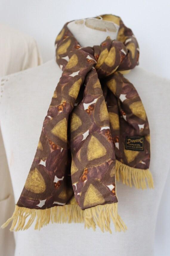 "Vintage 1960s 60s mens tassel tassled scarf mod dapper dandy yellow brown Duggie wool acetate 10.5"" x 45"""