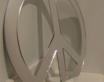 Peace Sign Laser Cut Acrylic Mirror Wall Decor
