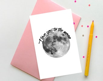 Valentine Printable Card I love you to the moon Valentines day décor Valentines day card Valentine card Valentines gift Valentine decor art