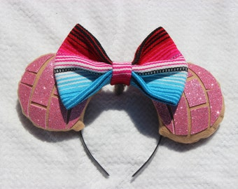 Pink Strawberry Fresa Glitter Pan Dulce Concha Mouse Ears With Sarape Bow