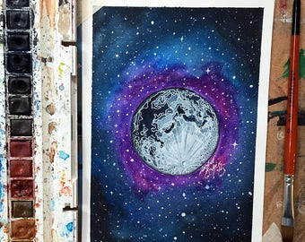 Moon Mixed Media Illustration on 300gsm Watercolour Paper