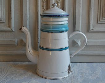Striped Vintage enamel coffee pot blue and white stripes, rustic enamel jug, 1930's cafétiere, enamelware, antique country chic kitchen