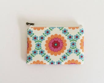 Mini zipper pouch  - Retro flower