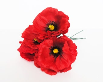 Fake poppies poppy etsy 10 red poppies artificial flowers silk poppy 43 flower wedding anemones supplies faux fake anemone mightylinksfo