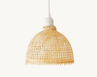 Bamboo Pendant Lamp, Woven Bamboo Lamp, Lamp Shade Bell
