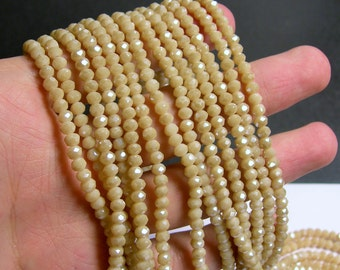 Crystal faceted rondelle - 145 pcs - 20 inch strand - 4 mm - A quality - Beige - YAZ14