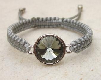 Grey Swarovski bracelet, crystal friendship bracelet, rivoli macrame bracelet, stacking bracelet, rhinestone bracelet