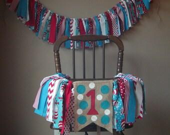 SALE Dr Seuss Birthday Banner Highchair Banner Photo Prop, Rag Tie High Chair Banner