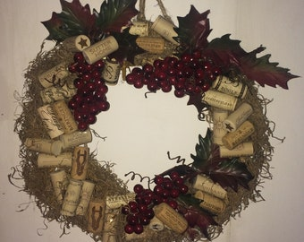 Wine Cork Wreath with Grapes