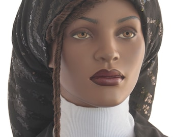 Worthy Locks Snood™ Black Sequins Cotton Jersey Knit Long Dreadlocks Snood Dressy Snood Long Hair Snood Handmade