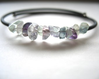 Rainbow Fluorite Bracelet, Rainbow Fluorite Jewelry, Handmade Artisan Rainbow Fluorite Cuff Bracelet