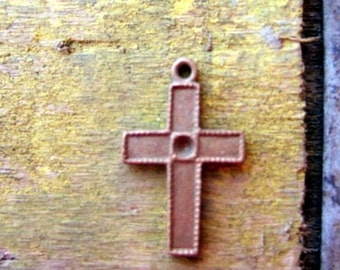 3 Vintage Copper Cross Charms