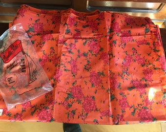 5 yards Vintage Fabric by Peter Pan Orange with Red and Pink Roses Polyester Blend Low Sheen Original Bag Mid Century Era Sewing Fabric