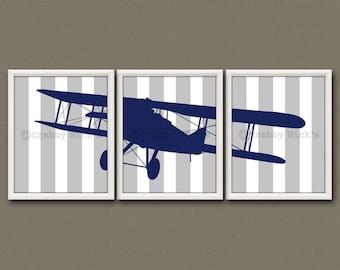 8x10 (3) NURSERY PRINTS - Nursery Art, Nursery Decor, Children's Art - Vintage Airplane, Aviation