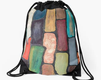 Artist drawstring bag, gift tote school bag, light office bag, abstract Art Tote Bag, abstract tote bag, school bag, gift for artist