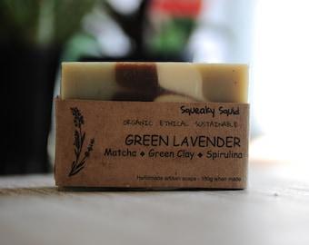 GREEN LAVENDER - Organic Soap, Natural Soap, Gentle Soap, Lavender Soap, Matcha Soap, Spirulina Soap, Green Clay Soap, Handmade Soap
