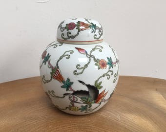 Vintage Chinese Porcelain Ginger Jar with Cover - white, hand painted flowers, gourds, moths and butterflies