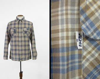 Vintage Levi's Big E Plaid Shirt Wildfire 1970s Long Sleeve Button Up - Size XL