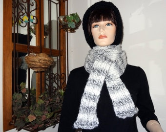 Black and Striped  Warm Hooded Scarf - FREE SHIPPING