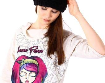 Black pom pom hand knitted hat/Wool beanie hat/Warm winter hat/Womens Slouchy Hat/Gift idea for her/Fluffy Pom Pom/Knitted wool beanie 114