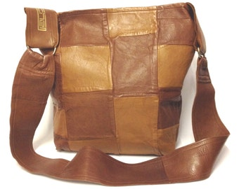 Brown Leather Shoulder Bag/ Brown leather Bag/ Tan Brown patchwork handbag /One of a kind/ Statement Bag/ gift for her