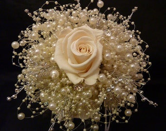 Ivory preserved rose bridal bouquet with ivory bubble pearls and diamante sparkle. Ivory brides bouquet. Bridesmaids bouquet. Diamante