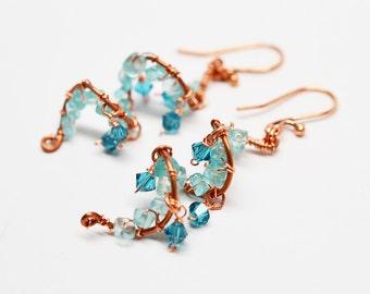 Copper, apatite & Swarovski crystal wirework wrapped spiral chandelier style aqua blue gemstone dangle earrings
