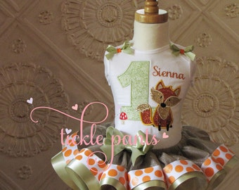 Fox Birthday Outfit - Woodland Friends - Earth tones - Includes embroidered top and ruffled tutu-  Can be made to match your party/invite
