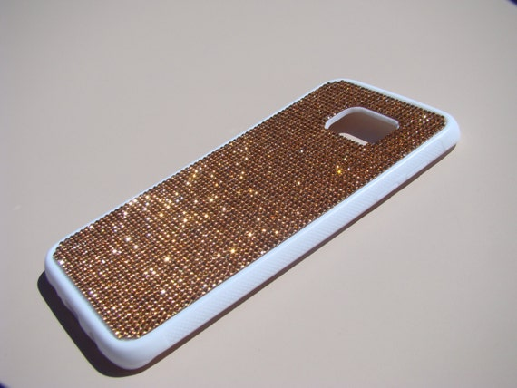 Galaxy S7 Edge Case Rose Gold Diamond Crystals on White Rubber Case. Velvet/Silk Pouch Bag Included, Genuine Rangsee Crystal Cases.