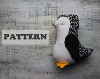 Penguin PATTERN for soft stuffed animal toy plushie 9 inches