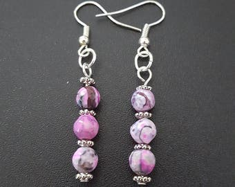Pink & black swirl beaded dangle earrings with silver detail
