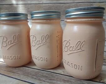Mason Jars, Blush mason jars, mason jar set, flower vases, farmhouse decor, mason jar decor, painted mason jars, shabby chic, wedding decor