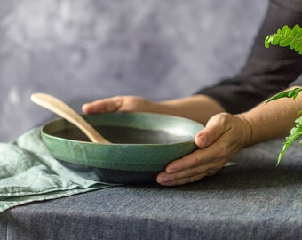 Ceramic Bowl, Black & Green Salad Bowl, Handmade Ceramic bowl, Modern Stoneware Bowl, Black Handmade Bowl, Ceramic Mixing Bowl, Pottery Bowl