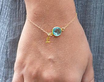 December Birthstone Bracelet - Initial bracelet - Personalized Blue Topaz bracelet - bezel station bracelet, gold or silver, custom bracelet
