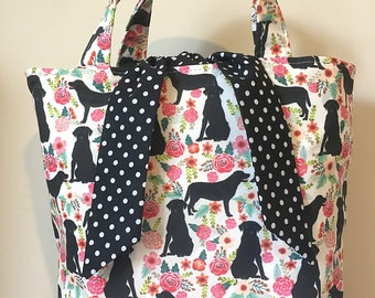 Labrador black dog print handbag