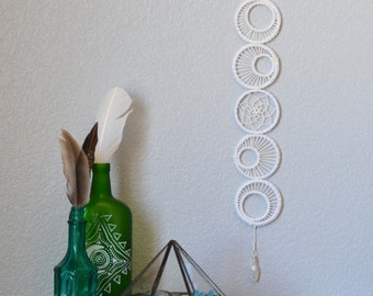 Small White Bohemian Dream Catcher - Crescent Moon Phase Wall Hanging - Phases of the Moon Neutral Nursery Decor - Crystal Boho Wedding Gift