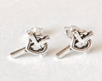 Sterling Silver stud earrings/Cross and Heart Earrings/Highly polished/Gifts/wedding/bridesmaid