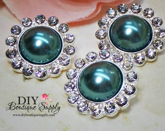 Deep TEAL Pearl Buttons Rhinestone Crystal buttons Metal Embellishment Hair bow centers Crystal flower centers 5 pcs 21mm 770045