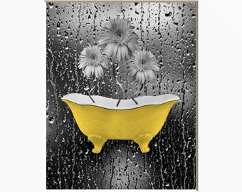 Yellow Gray Bathroom Decor, Daisy Flowers, Bathtub, Raindrops. Yellow Wall Art Matted Picture