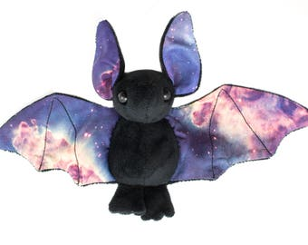 Black Galaxy Bat Stuffed Animal Plush Toy, Bat Plushie, Softie