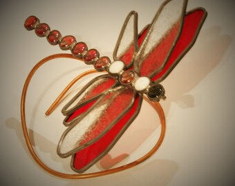 Large Red Stained Glass Dragonfly 9 inches wide