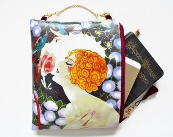 Womens gift ideas, Large waterproof 1920s female, hanging cosmetic bag, small book bag, toiletries.