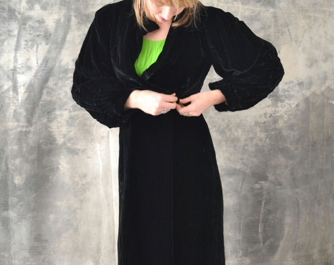 Edwardian Black Velvet Opera Coat
