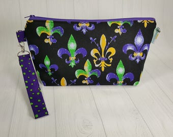 Fleur de Lis Knitting Project Bag -purple green gold Zippered Wedge Bag, Zipper Knitting Bag, Cosmetic Bag, Sock Knitting Bag WS0070
