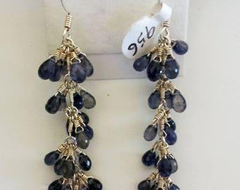 Iolite Sterling Silver Earrings, Natural Iolite Earrings, Iolite Drop Earrings
